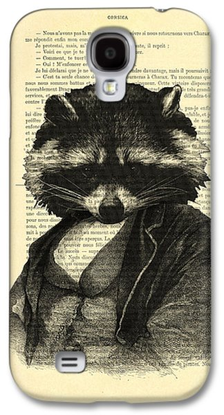 Raccoon Portrait, Animals In Clothes Galaxy S4 Case by Madame Memento