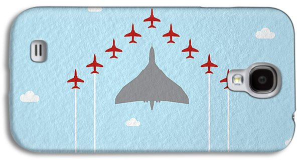 Jet Galaxy S4 Case - Raf Red Arrows In Formation With Vulcan Bomber by Samuel Whitton