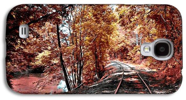 Rail Digital Galaxy S4 Cases - Rail Road along Brandywine Creek Galaxy S4 Case by Bill Cannon