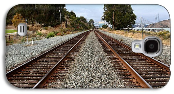 Railroad Tracks With The New Alfred Zampa Memorial Bridge And The Old Carquinez Bridge In Distance Galaxy S4 Case by Wingsdomain Art and Photography