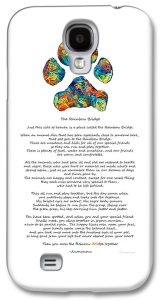 Rainbow Bridge Poem With Colorful Paw Print By Sharon Cummings Galaxy S4 Case