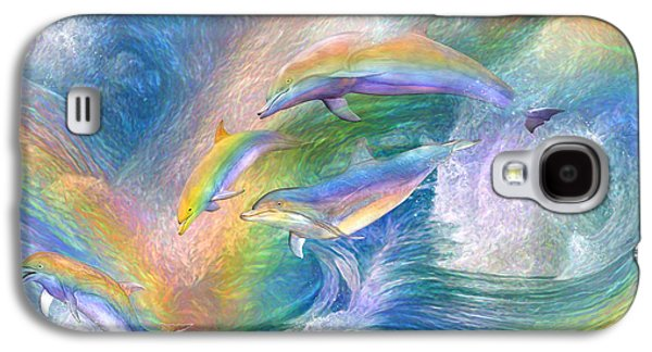 Rainbow Dolphins Galaxy S4 Case by Carol Cavalaris