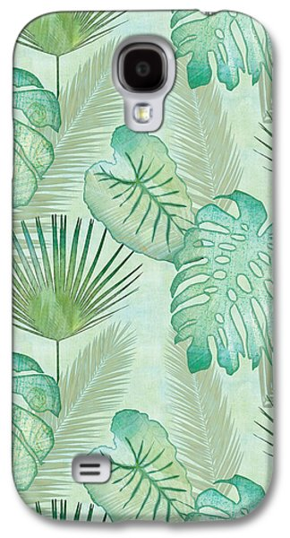 Rainforest Tropical - Elephant Ear And Fan Palm Leaves Repeat Pattern Galaxy S4 Case by Audrey Jeanne Roberts
