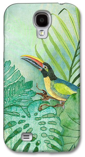 Toucan Galaxy S4 Case - Rainforest Tropical - Tropical Toucan W Philodendron Elephant Ear And Palm Leaves by Audrey Jeanne Roberts