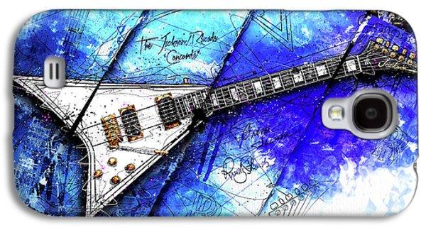 Randy's Guitar On Blue II Galaxy S4 Case by Gary Bodnar