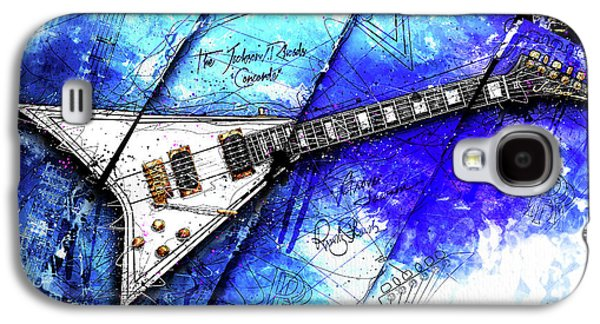 Randy's Guitar On Blue II Galaxy S4 Case