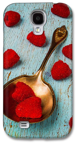 Raspberries With Antique Spoon Galaxy S4 Case by Garry Gay