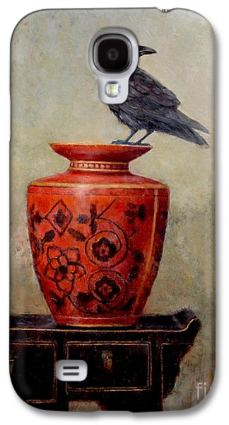 Raven On Red  Galaxy S4 Case by Lori  McNee