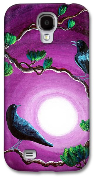 Crows Black Paintings Galaxy S4 Cases - Ravens on a Summer Night Galaxy S4 Case by Laura Iverson