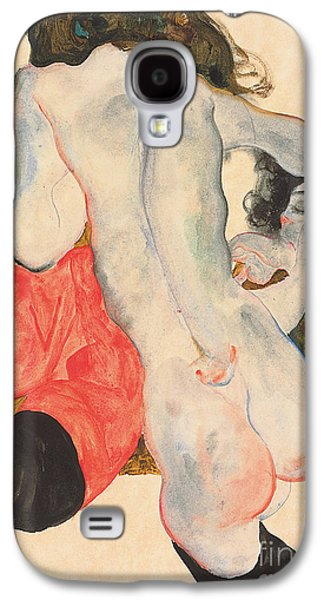 Lesbian Paintings Galaxy S4 Cases - Reclining woman in red trousers and standing female nude Galaxy S4 Case by Egon Schiele