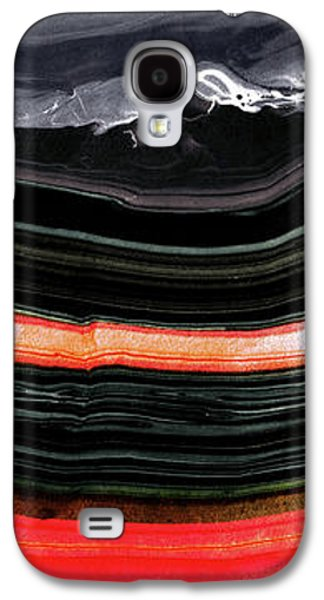 Red And Black Art - Fire Lines - Sharon Cummings Galaxy S4 Case by Sharon Cummings