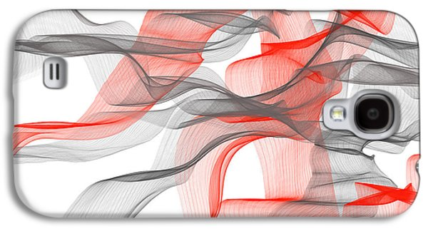 Red And Gray Ribbons -red And Gray Art Galaxy S4 Case by Lourry Legarde