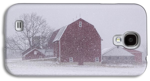 Red Barn In A Snowstorm Galaxy S4 Case by Randall Nyhof