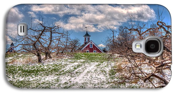 Red Barn On Farm In Winter Galaxy S4 Case by Joann Vitali
