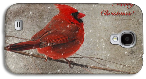 Red Bird In Snow Christmas Card Galaxy S4 Case by Lois Bryan