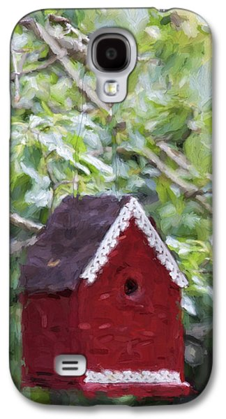 Red Birdhouse Painterly Effect Galaxy S4 Case