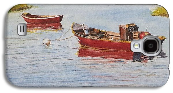Red Boats At Rest Galaxy S4 Case by Dan McCole