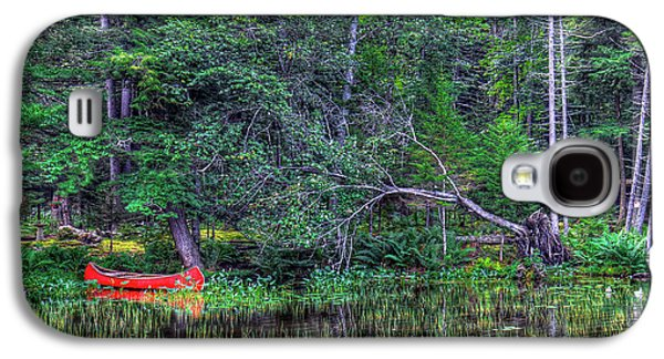 Galaxy S4 Case featuring the photograph Red Canoe Among The Reeds by David Patterson