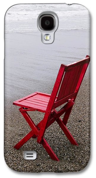 Chair Galaxy S4 Case - Red Chair On The Beach by Garry Gay