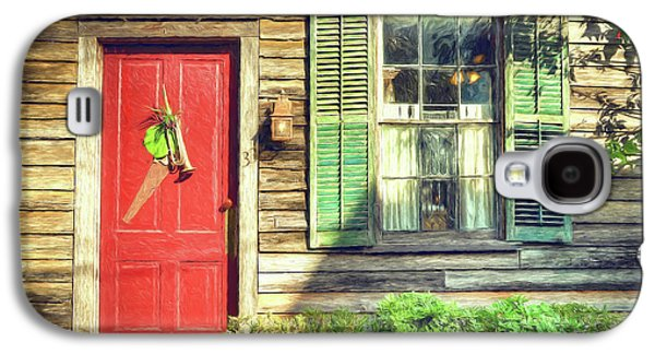 Red Door With Saw Galaxy S4 Case by John Adams