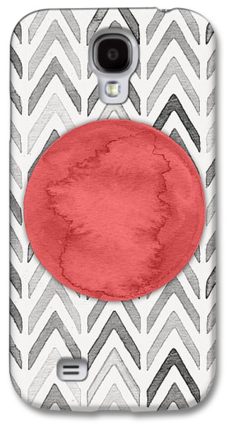 Red Dot On Chevron Watercolor Pattern  Galaxy S4 Case by Nordic Print Studio