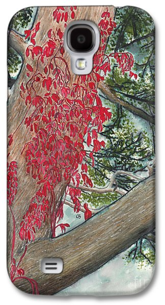 Red Fall Vines On Big Old Tree Galaxy S4 Case by Conni Schaftenaar