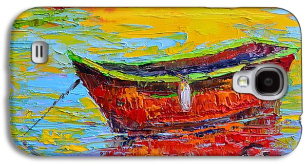Red Fishing Boat At Sunset - Modern Impressionist Knife Palette Oil Painting Galaxy S4 Case by Patricia Awapara