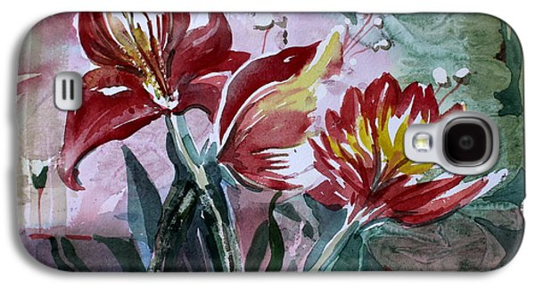 Red Flora Galaxy S4 Case by Mindy Newman