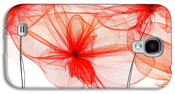 Red Floral - Red Modern Art Galaxy S4 Case by Lourry Legarde