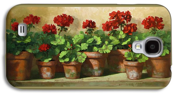 Red Geraniums Galaxy S4 Case by Linda Jacobus