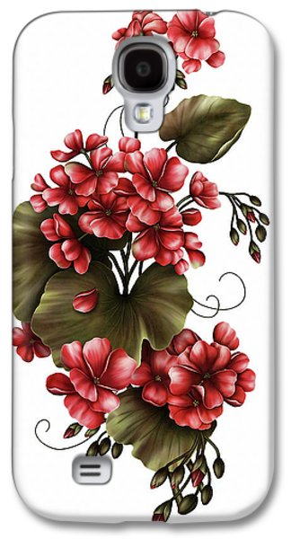 Red Geraniums On White Galaxy S4 Case by Georgiana Romanovna