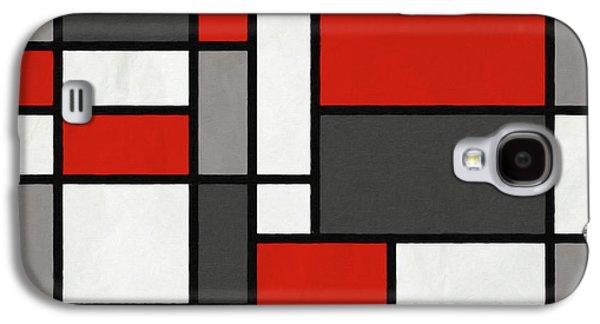 Red Grey Black Mondrian Inspired Galaxy S4 Case