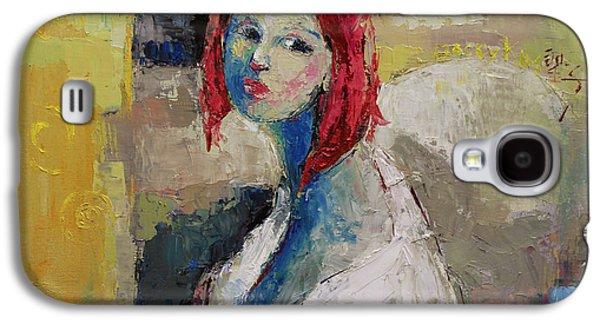 Red Haired Girl Galaxy S4 Case by Becky Kim