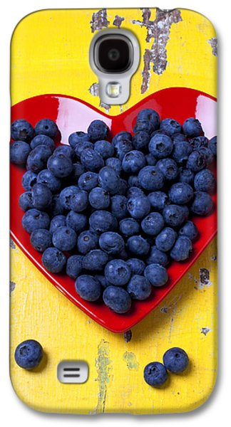 Red Heart Plate With Blueberries Galaxy S4 Case by Garry Gay