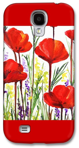 Galaxy S4 Case featuring the painting Red Poppies Watercolor By Irina Sztukowski by Irina Sztukowski