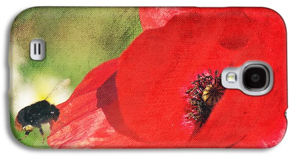 Flies Mixed Media Galaxy S4 Cases - Red poppy impression Galaxy S4 Case by Angela Doelling AD DESIGN Photo and PhotoArt