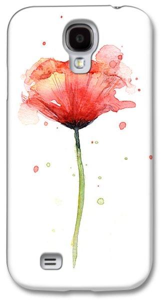 Red Poppy Watercolor Galaxy S4 Case