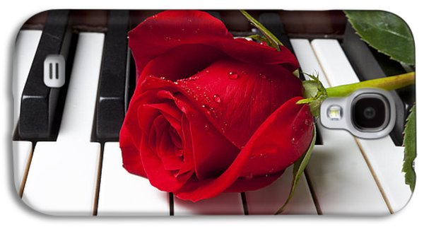 Rose Galaxy S4 Case - Red Rose On Piano Keys by Garry Gay