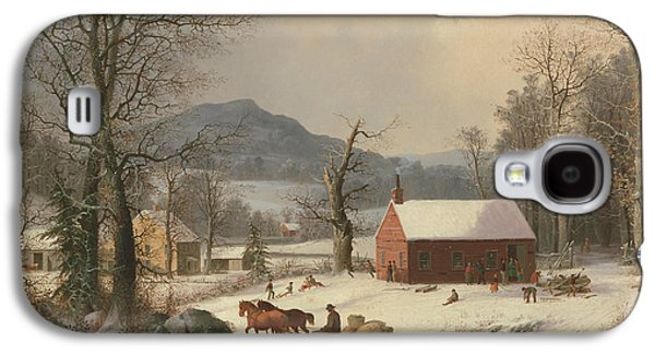 Red School House  Galaxy S4 Case by George Henry Durrie