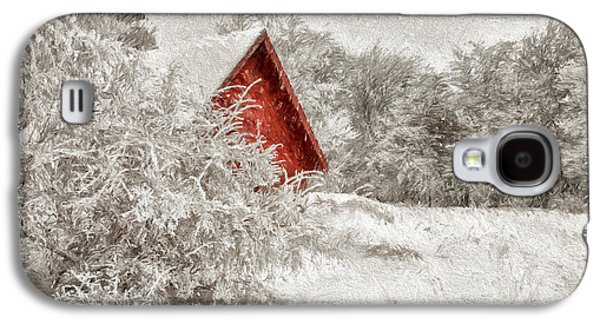 Red Shed In The Snow Galaxy S4 Case