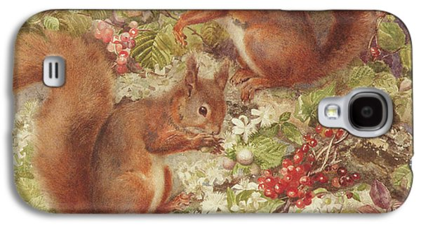 Red Squirrels Gathering Fruits And Nuts Galaxy S4 Case by Rosa Jameson