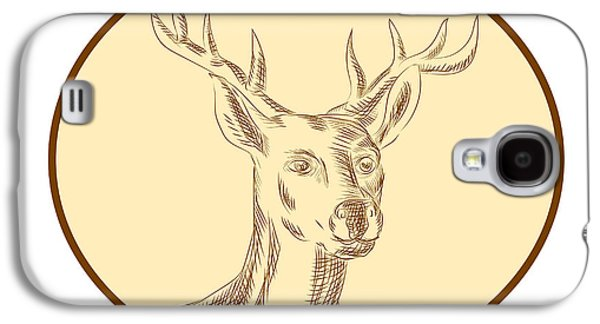 Red Stag Deer Head Circle Etching Galaxy S4 Case by Aloysius Patrimonio