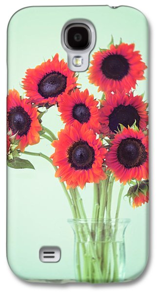 Sunflower Galaxy S4 Case - Red Sunflowers by Amy Tyler