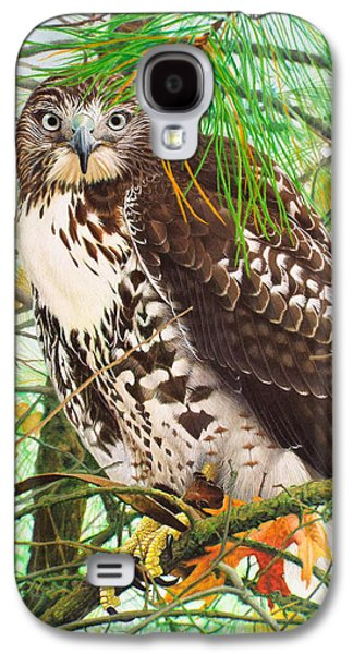 Red Tail Hawk, Thistle Galaxy S4 Case by Ken Everett