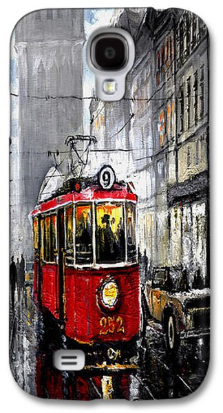 Old Mixed Media Galaxy S4 Cases - Red Tram Galaxy S4 Case by Yuriy  Shevchuk