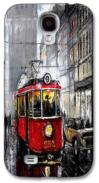 Old Street Galaxy S4 Cases - Red Tram Galaxy S4 Case by Yuriy  Shevchuk