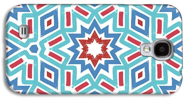 Red White And Blue Fireworks Pattern- Art By Linda Woods Galaxy S4 Case by Linda Woods