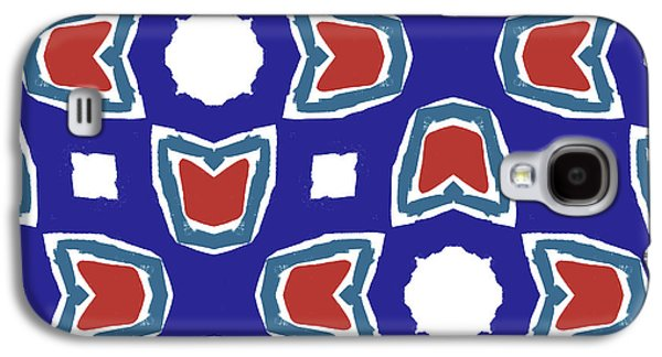 Red White And Blue Tulips Pattern- Art By Linda Woods Galaxy S4 Case by Linda Woods