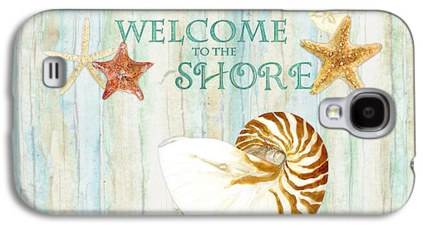 Refreshing Shores - Lighthouse Starfish Nautilus Sand Dollars Over Driftwood Background Galaxy S4 Case