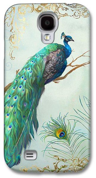 Regal Peacock 1 On Tree Branch W Feathers Gold Leaf Galaxy S4 Case by Audrey Jeanne Roberts